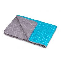 Children's quilt Pikapoka - turquoise/brown